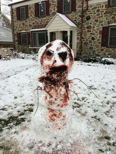 Zombie snowman...now I wanna make a snow man