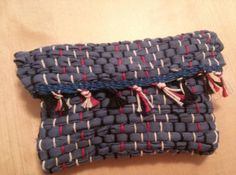 Dark Blue with red, white and black string woven change purse with black velcro.  Change purse, bag, Clutch,  Coin purse Check out this item in my Etsy shop https://www.etsy.com/listing/208292851/dark-blue-with-red-white-and-black