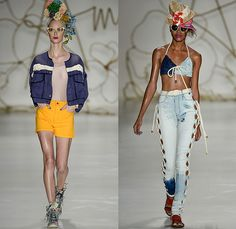 Amapô 2014-2015 Summer Womens Runway Looks - Temporada Verão 2014-2015 São Paulo Fashion Week Brazil Brasil Southern Hemisphere Moda Desfiles - Denim Jeans Faded Bleached Shorts Jorts Cutoffs Mesh Net Jacket Peek-a-Boo Rope Weave Acid Wash Drawstring Crop Top Midriff Swim Embroidery Flowers Florals Flare Bell Peplum Sleeves Illustrations Motif Print Beach Geometric Leaves Foliage Lace Guitar Portraits People