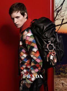 'The Danish Girl' no more, British actor Eddie Redmayne stars in the latest Prada men's fall/winter 2016 ad campaign shot by Craig McDean. Eddie Redmayne, Craig Mcdean, Knitwear Fashion, Fashion Socks, Rapper, High Fashion, Mens Fashion, Thing 1, Sweater Weather