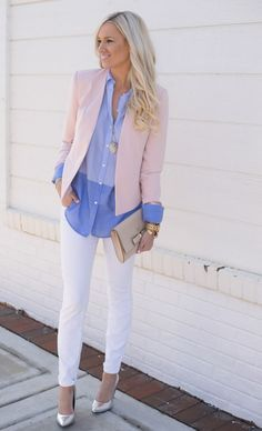 Hesitant to try menswear-inspired clothing? Try it in a airy colors like pink and light blue for a feminine feel.