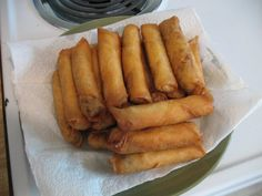 So everyone seems to be asking me about how to make Lumpia...I brown 2 lbs of ground beef (or whatever meat you want), season with garlic powder and soy sauce to your liking, add a bag of shredded carrots and shredded cabbage and cook til veggies are soft. Take a tablespoon worth and put into wrapper (says spring roll or lumpia on package), roll according to directions on back of package and fry at med-high until golden brown :) Yummy!