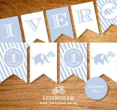 Elephant Baby Shower, Christening or Birthday Party Bunting Flags (Personalised DIY Printables)