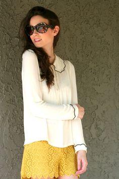 Mustard crochet Shorts