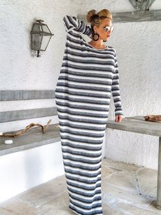 Warm Wool Maxi Dress Kaftan /  Winter Warm Long Dress / Plus Size Dress / Oversize Loose Dress / #35164