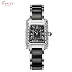 Kimio Luxury Women's Quartz Watch Dress Fashion Casual Women Watches Roman Numerals Rhinestone Bracelets