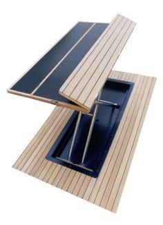 Boat cockpit table / fold away / teak - - CASA MARE - Videos