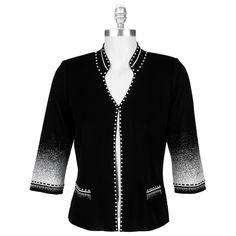 8bc038208f #VonMaur - Ming Wang Mandarin Collar Jacket with Pixelated Knit..OMG  Mandarin Collar