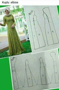 V/ corte princesa - Her Crochet Motif Abaya, Abaya Pattern, Pattern Draping, Sewing Pants, Sewing Clothes, Dress Sewing Patterns, Clothing Patterns, Myanmar Dress Design, Sewing Collars