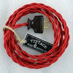 Red Cloth Covered Wire - 8-ft Cordset - Rewire - Vintage Style Lamp Wire - Steampunk Lamp - Minimalist  - Edison Lamp