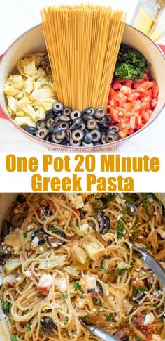 It's a one pot wonder ready in just 20 minutes!  This Mediterranean inspired One Pot 20 Minute Greek Pasta is a dump and make vegetarian dinner that's bound to be a family favorite like it's become in our house! #onepot #meals #pasta #spaghetti #greekpasta