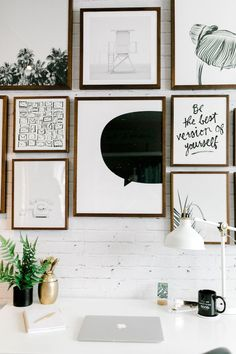 Inspired By This A Behind the Scenes look at Be Inspired PR's Oceanfront Office Rustic Gallery Wall, Modern Gallery Wall, Gallery Wall Bedroom, Gallery Walls, Stair Gallery, Bubbly Bar, Black And White Prints, Wall Collage, Living Room Designs