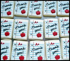 Teacher 'Thank you' Cookies. Maybe next year. Teacher Cakes, Teacher Treats, School Treats, Teacher Gifts, Teacher Appreciation Gifts, Fall Cookies, Iced Cookies, Cute Cookies, Royal Icing Cookies