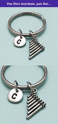 Pan flute keychain, pan flute charm, musical instrument keychain, personalized keychain, initial keychain, customized, monogram. Pan flute charm keychain with hand stamped initial *Initial charm is antique silver pewter 9mm *Pan flute charm is antique silver pewter *Your purchase will arrive packaged in a cute gift box and I will include a message by request.