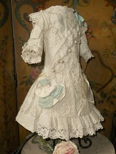 Most beautiful one of a kind fully hand embroidery pique dress in Princess style with matching bonnet ,  will fit perfect for Jumeau , Steiner , Bru ,