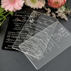 11B Engraved Acrylic Wedding Invitations $5...PERSONALIZED FAVORS.COM