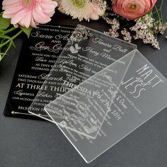 11B Engraved Acrylic Wedding Invitations $5...PERSONALIZED FAVORS.COM