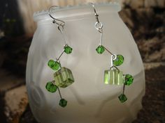 Handmade Dangle Earrings: Swarovski Crystal and different Peridot Beads by ATouchOfT on Etsy