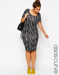 Image 1 of ASOS CURVE Exclusive Body-Conscious Dress In Polka Dot  In Longer Length
