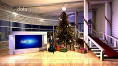 Simple and stylish design with Christmas tree and red carpet creates holiday season's vibe. It suits Christmas TV program really well.tvsset (Special format for Datavideo Modern Christmas, Christmas Tree, Virtual Studio, Tvs, This Is Us, Fantasy, Holiday Decor, Design, Teal Christmas Tree
