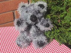 Knitted bear small knitted bear  black and grey by yarnawayknits, £12.50