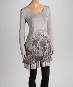 Take a look at this Gray & Violet Stripe Ruffle Tunic by Christine Phillipë on #zulily today!