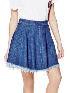 Denim Skater Skirt in Conway Wash