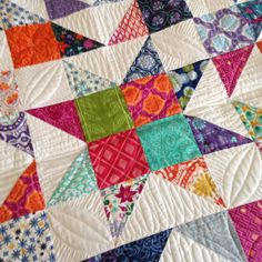Scrappy Mix and Match blog post by Sherri McConnell  Moda's Cutting Table.  This quilt uses scraps from V&Co with Kate Spain fabric.  Gorgeous.