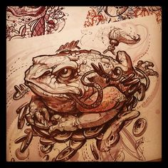 Done by James Tex. Frog Tattoos, Body Art Tattoos, Sleeve Tattoos, Tattoo Sketches, Tattoo Drawings, Art Sketches, Tatuagem New School, Graffiti, 1 Tattoo