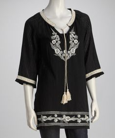 Take a look at this Black Embroidered Top by Papillon Imports on #zulily today!