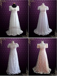 Vintage inspired regency 1920 style lace wedding dress with empire waist. Photoed in ivory.This dress can also be made in white or another color Working Time: 8-10 weeks Rush Order please inquire prior to order.   CustomDesigns We specialize in custom design services.If there's a dress you like and it's not on our website,you're more than welcome to email us a picture of the dress for a quote.info@ieieshop.com HAVE QUESTIONS? DROP US A MESSAGE!  Other RegencyStyle Dresses These are…