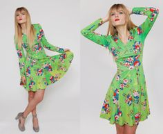 Vintage 70s Mod Lime Green Tie Dye Mini Dress by LotusvintageNY