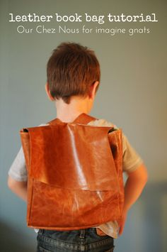 sewing: leather book bag tutorial {and giveaway} || imagine gnats.  Would just need to change the materials to a non-animal material and we are good to go!