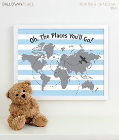 airplane nursery art, plane aviation nursery map travel nursery theme decor, explore adventure outdoors baby boy blue nursery inspirational