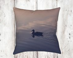 Photo Pillow Sunset Reflection Duck Photograph Fine Art 14x14 18x18 Throw Pillows Home Decor Decorative Throws Clouds Pink Blue Sofa Chair by ShutterTreePhotos on Etsy
