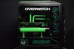 Overwatch inspired Case Mod is using a MasterCase Pro This DIY tower Pc Mod is a great example of how liquid cooling gives it that final touch! Diy Computer Case, Pc Tower, Tower Games, Cooler Master, Pc Cases, Overwatch, Game Room, Room Ideas, Gaming