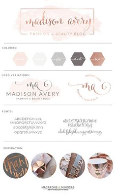 Script Calligraphy Rose Gold Blush Watercolor • Premade Submark Watermark Stamp • Blogger Photography Branding Kit Logo Design