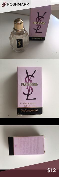 YSL Parisiane Perfume Sample .25 fl oz. brand new with tags! Great for travel or way of trying a new scent! Cute little bottle which is exact replica of larger 3 oz. bottle. Open to reasonable offers through feature! Yves Saint Laurent Makeup