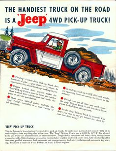 allamericanclassic: 1960 Jeep Pick-up Truck Willys Wagon, Jeep Willys, Jeep Jeep, Vintage Jeep, Vintage Trucks, Vintage Ads, Jeep Wrangler Renegade, Jeep Pickup Truck, Jeep Wagoneer