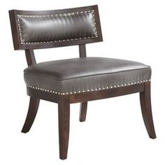 """Midcentury-style accent chair with splayed feet and nailhead trim.    Product: ChairConstruction Material: Bonded leather and woodColor: Espresso, gunmetal grey and silverFeatures:  Nailhead trimMidcentury-style 18"""" Seat height Dimensions: 30.75"""" H x 26"""" W x 27"""" D"""