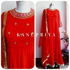 Red 'Marodi' work Anarkali by Label Kanupriya WhatsApp 9694496961 | www.labelkanupriya.com