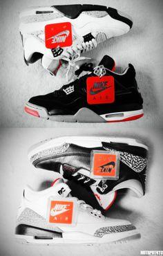 Air Jordan IV & III cement/bred