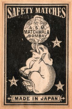Elephant on a vintage matchbox label, India