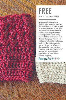 boot cuffs As you stroll outside on a slightly crisp morning, you feel like a million bucks. You've had to tighten your belt in the past, but thanks to this Rich Ripple Stitch Boot Cuff pat Guêtres Au Crochet, Crochet Boots, Crochet Slippers, Crochet Crafts, Crochet Stitches, Crochet Projects, Crochet Patterns, Hat Patterns, Crochet Boot Cuff Pattern
