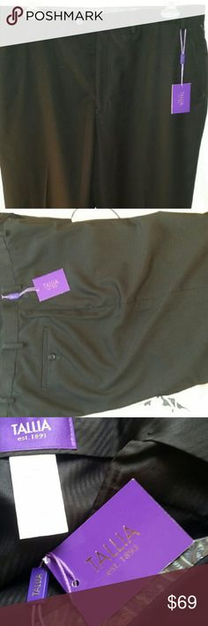 Tallia men black dress slacks 38x32 Tallia men black dress slacks. Make an impression in these slacks. These are brand new with tags. Available in charcoal grey in my closet. Bundle both for a discount. Tallia  Pants Dress