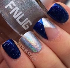 Elegant nails. but with pink instead of blue.