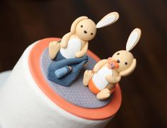Fondant Cake Topper - Over 35 Pieces Whimsical 3D Rabbit Cake Topper Fondant Figure - Perfectly Matches Our Cupcake Toppers by Les Pop Sweets on Gourmly