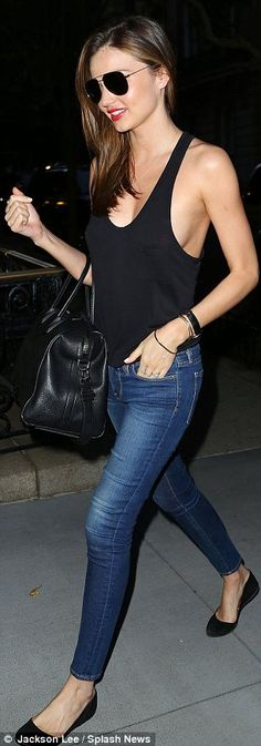 Kerr-ful: Miranda was lucky to avoid a wardrobe malfunction as she donned a daring top in New York    11      1