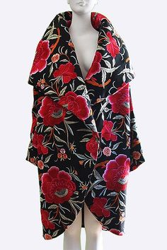 Tuesday look - a vintage touch of red.1980s Norma Kamali Embroidered Cocoon