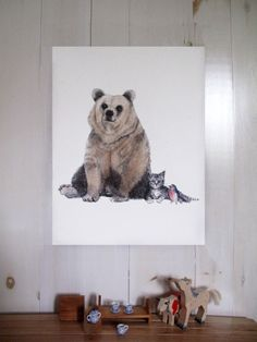 """Beautiful """"BEAR, KITTY, BIRD"""" limited edition screen prints with hand-painted watercolor touch. I want it for me, my love of screenprinted art, and also kinda think it would make a fabulous art piece for a future nursery :) -KWA Woodland Creatures, Illustration Art, Illustrations, Panda Bear, Future Baby, Screen Printing, Art Pieces, Nursery, Kitty"""